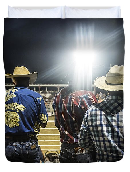 Cowboys at Rodeo Duvet Cover by John Greim