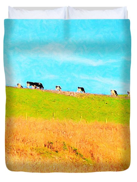 Cows On A Hill . 40D3430 . Painterly . Long Cut Duvet Cover by Wingsdomain Art and Photography