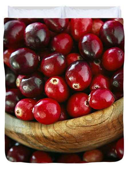 Cranberries in a bowl Duvet Cover by Elena Elisseeva