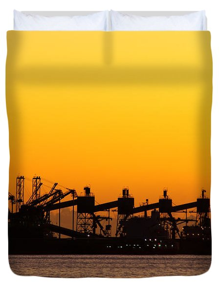 Cranes At Sunset Duvet Cover by Carlos Caetano