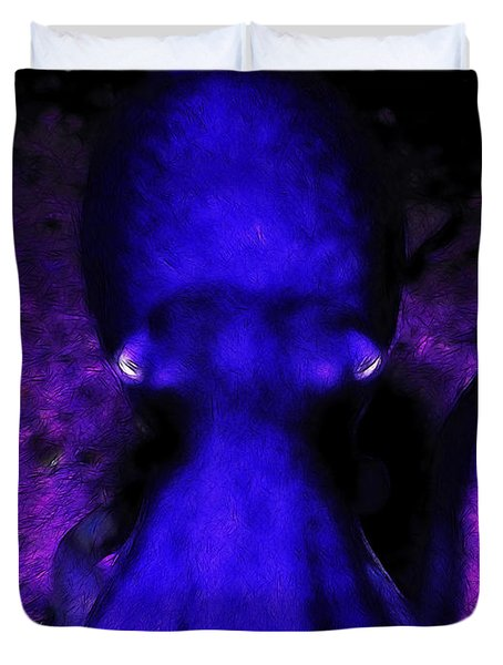 Creatures of The Deep - The Octopus - v4 - Blue Duvet Cover by Wingsdomain Art and Photography