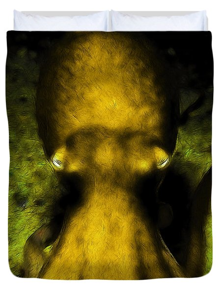 Creatures of The Deep - The Octopus - v4 - Gold Duvet Cover by Wingsdomain Art and Photography