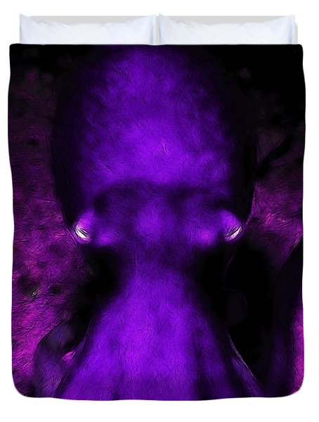 Creatures of The Deep - The Octopus - v4 - Purple Duvet Cover by Wingsdomain Art and Photography