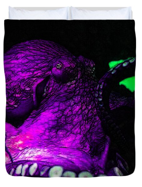 Creatures Of The Deep - The Octopus - V6 - Violet Duvet Cover by Wingsdomain Art and Photography