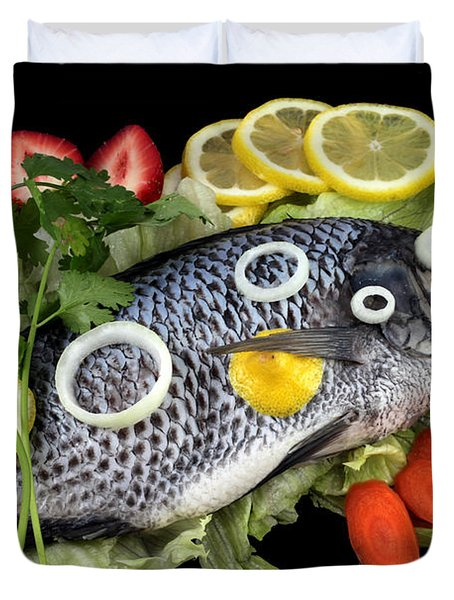 Crucian Fish With Vegetable Duvet Cover by Paul Ge