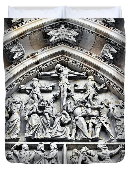 Crucified Christ - Saint Vitus Cathedral Prague Castle Duvet Cover by Christine Till