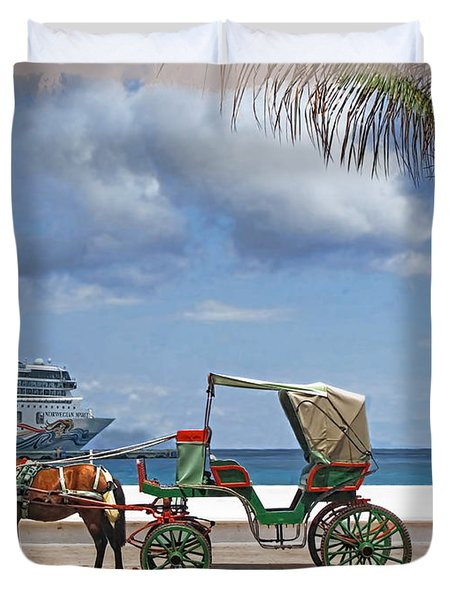 Waiting For Customers Duvet Cover by Joan  Minchak