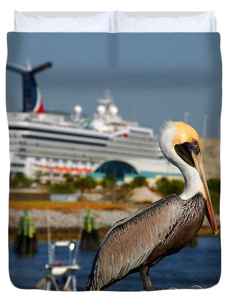 Cruising Pelican Duvet Cover by Susanne Van Hulst