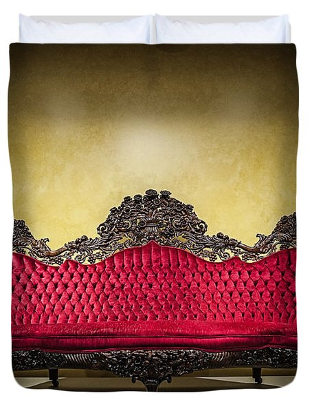 Crushed In Red Duvet Cover by CJ Schmit