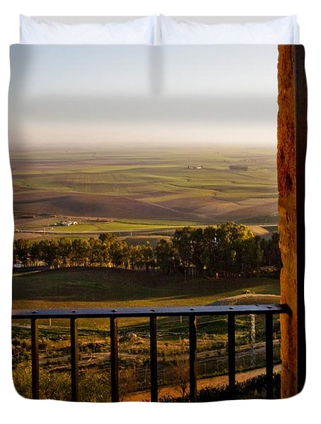 Cultivated Land In Spain Duvet Cover by Spencer Grant and Photo Researchers
