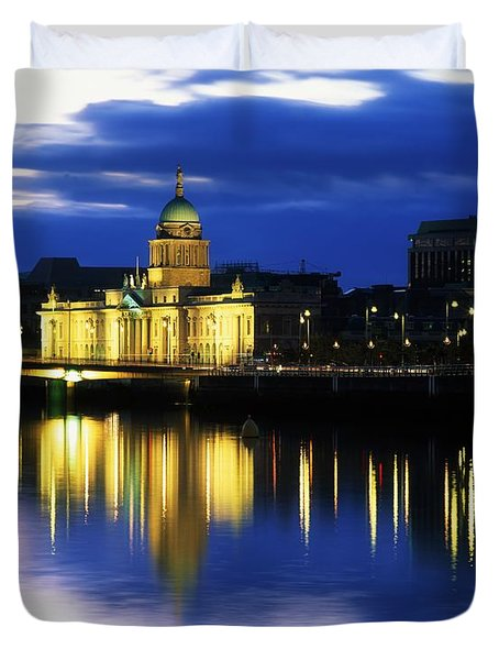 Customs House And Liberty Hall, River Duvet Cover by The Irish Image Collection