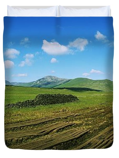 Cut Turf On A Landscape, Connemara Duvet Cover by The Irish Image Collection