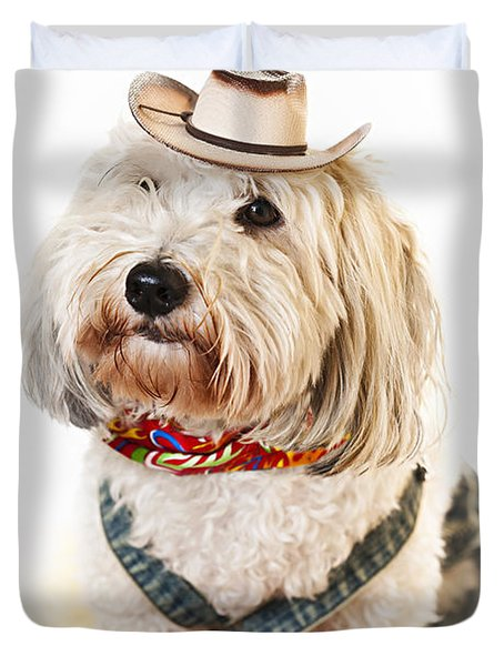 Cute dog in Halloween cowboy costume Duvet Cover by Elena Elisseeva