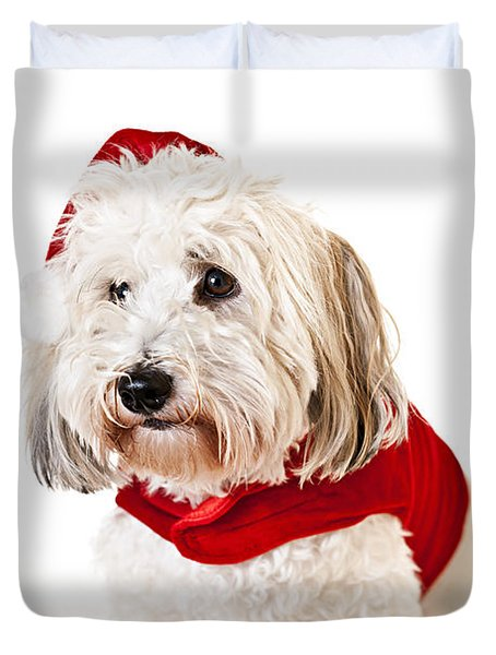 Cute Dog In Santa Outfit Duvet Cover by Elena Elisseeva
