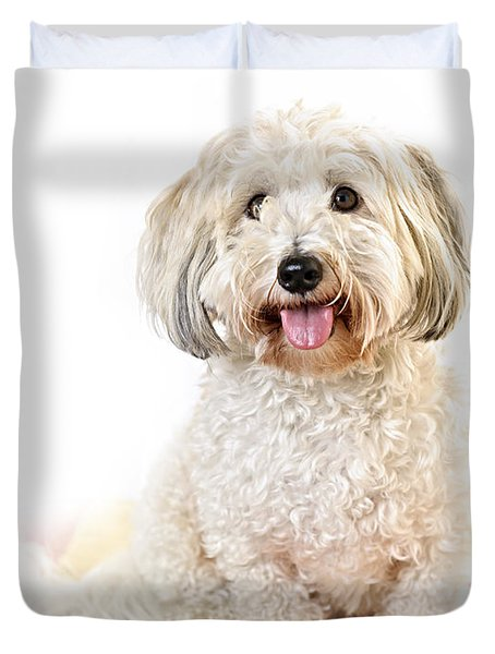Cute Dog Portrait Duvet Cover by Elena Elisseeva
