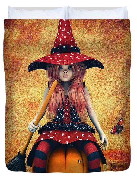 Cutest Little Witch Duvet Cover by Jutta Maria Pusl