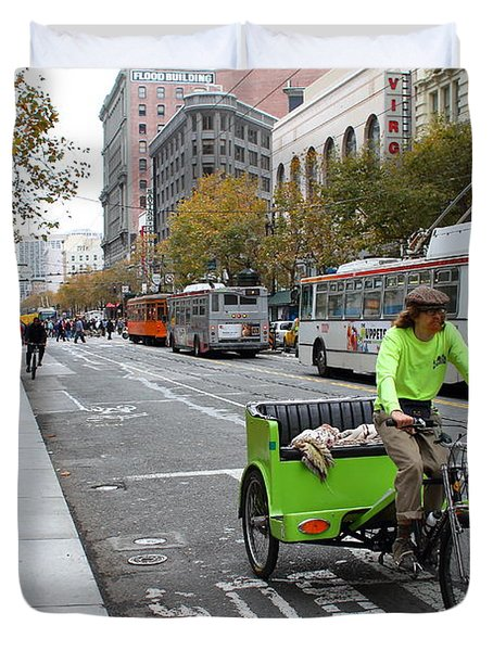 Cycle Rickshaw on Market Street in San Francisco Duvet Cover by Wingsdomain Art and Photography