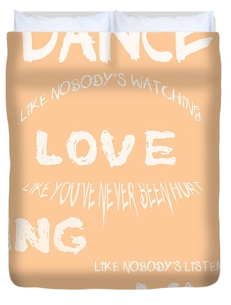 Dance Like Nobody's Watching - Peach Duvet Cover by Nomad Art And  Design