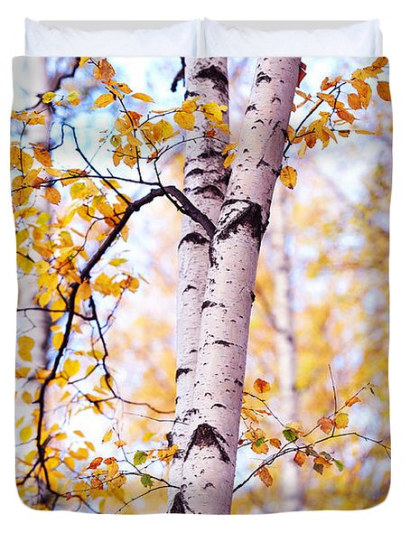 Dancing Birches Duvet Cover by Jenny Rainbow
