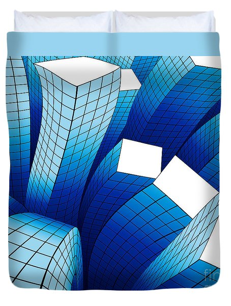 Dancing Buildings Duvet Cover by Atiketta Sangasaeng