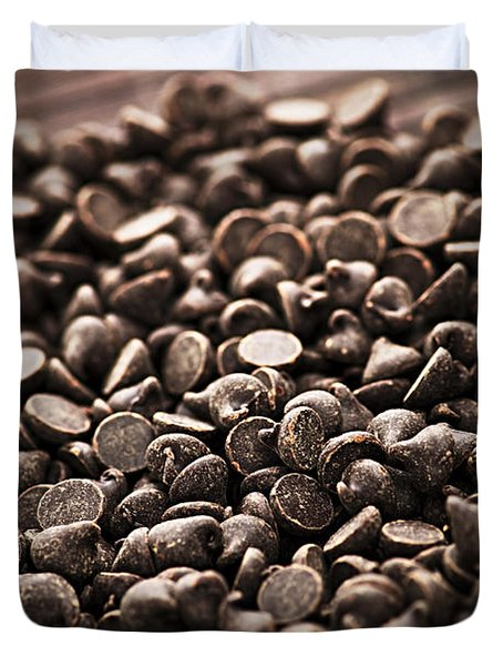 Dark chocolate chips Duvet Cover by Elena Elisseeva