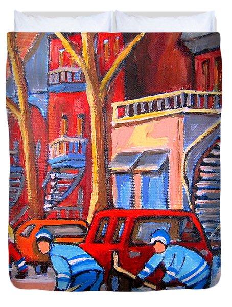 Debullion Street Hockey Stars Duvet Cover by Carole Spandau