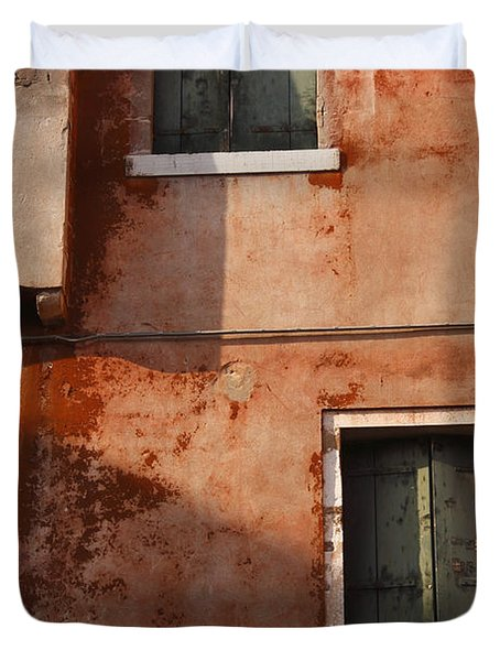 Decayed Facade Of A Building Venice Duvet Cover by Trish Punch
