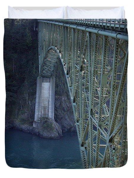 Deception Pass Bridge South Span Duvet Cover by Randall Thomas Stone