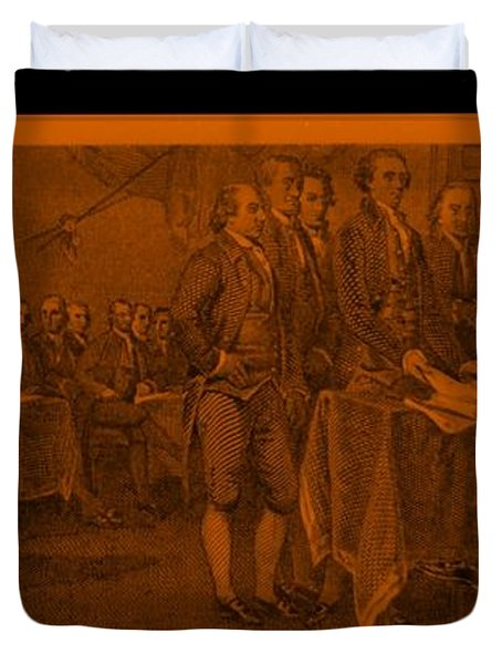 DECLARATION OF INDEPENDENCE in ORANGE Duvet Cover by ROB HANS
