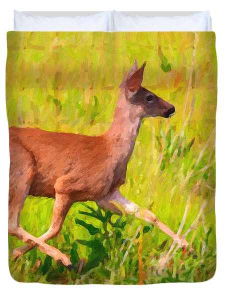 Deer Prancing In The Field Duvet Cover by Wingsdomain Art and Photography