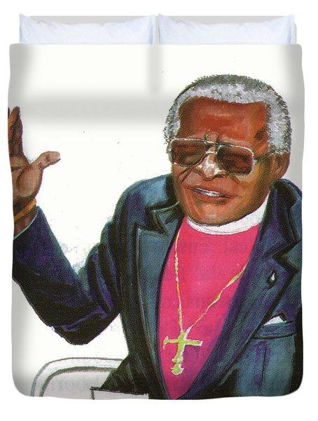 Desmond Tutu Duvet Cover by Emmanuel Baliyanga