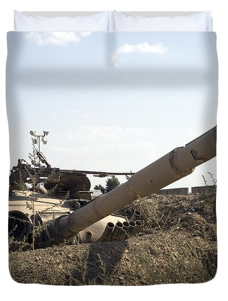 Destroyed Iraqi Tanks Near Camp Slayer Duvet Cover by Terry Moore