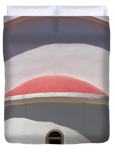 Detail Of Small Church Between Limnes Duvet Cover by Axiom Photographic