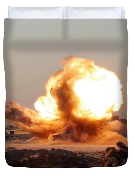 Detonation Of A Weapons Cache Duvet Cover by Stocktrek Images