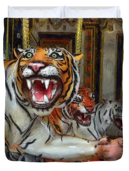 Detroit Tigers Carousel Duvet Cover by Michelle Calkins