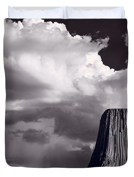 Devils Tower Wyoming Bw Duvet Cover by Steve Gadomski