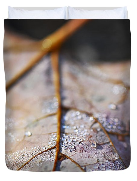 Dewy Leaf Duvet Cover by Elena Elisseeva