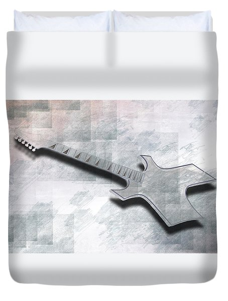 Digital-Art E-Guitar III Duvet Cover by Melanie Viola