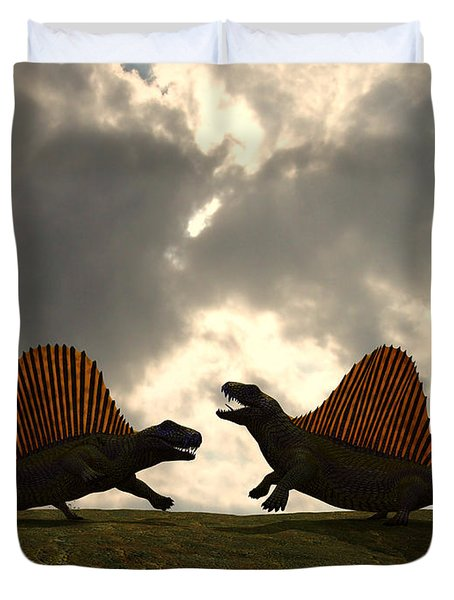 Dimetrodon Fight Over Territory Duvet Cover by Walter Myers