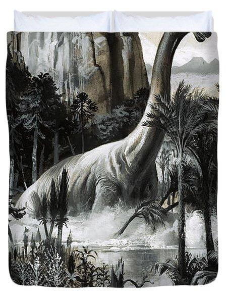 Dinosaurs Duvet Cover by Roger Payne