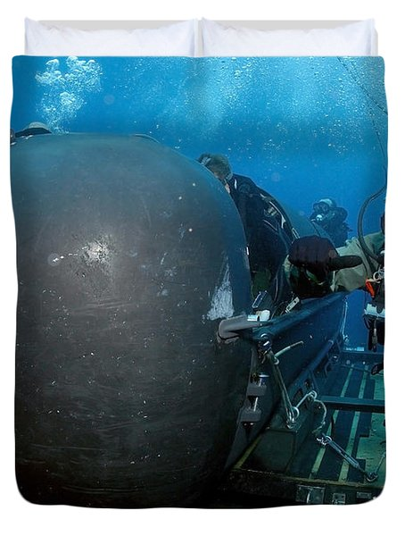 Divers Prepare To Launch A Seal Duvet Cover by Stocktrek Images