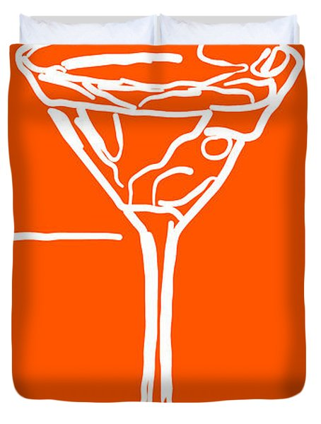 Do Not Panic - Drink Martini - Orange Duvet Cover by Wingsdomain Art and Photography