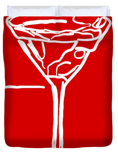 Do Not Panic - Drink Martini - Red Duvet Cover by Wingsdomain Art and Photography