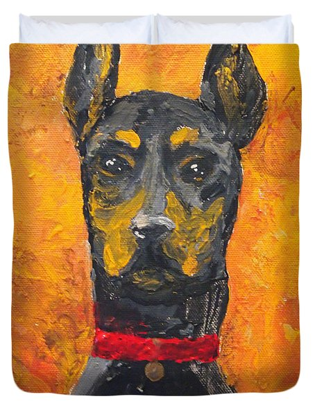 Dobie Girl Duvet Cover by Veronica Zimmerman