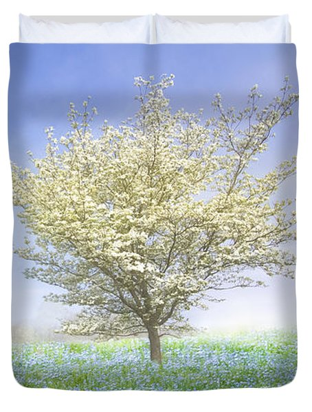 Dogwood In The Mist Duvet Cover by Debra and Dave Vanderlaan