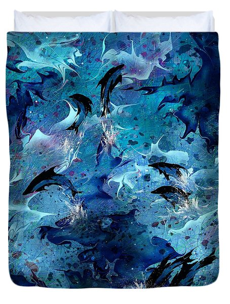 Dolphin Enchantment Duvet Cover by Rachel Christine Nowicki