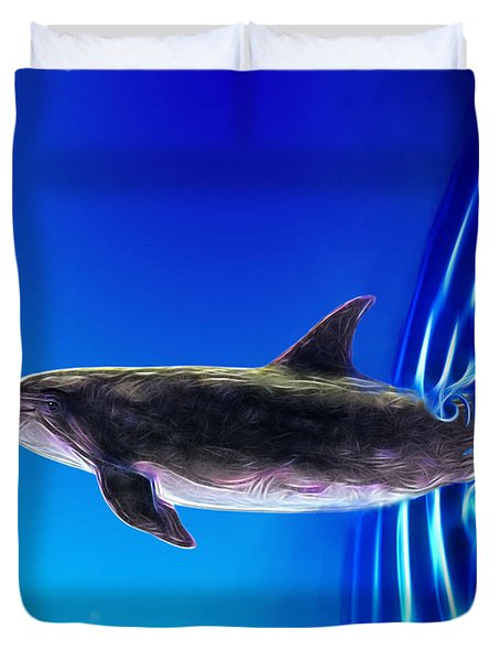 Dolphin Zoom Duvet Cover by Methune Hively