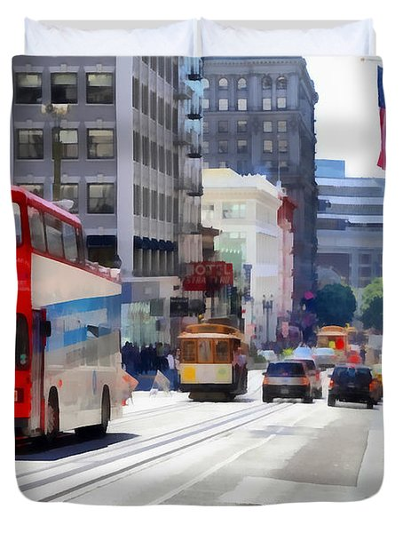 Double Decker Sightseeing Bus Along Powell Street In San Francisco California . 7d7269 Duvet Cover by Wingsdomain Art and Photography