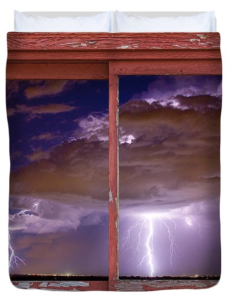 Double Trouble Lightning Picture Red Rustic Window Frame Photo A Duvet Cover by James BO  Insogna