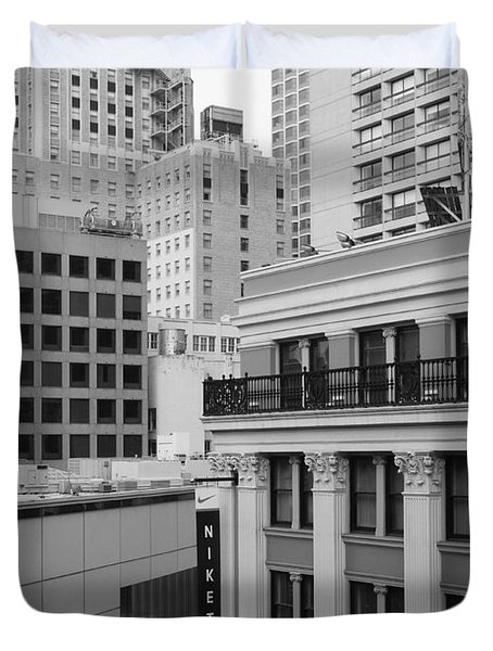 Downtown San Francisco Buildings - 5D19323 - Black and White Duvet Cover by Wingsdomain Art and Photography